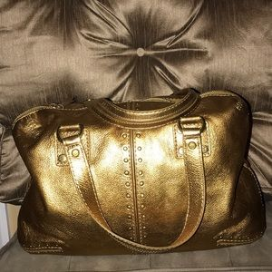 Michael Kors Astor Gold Metallic Leather Purse Bag